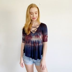 American Eagle Soft & Sexy Lace Up Tie Dye Top XXS